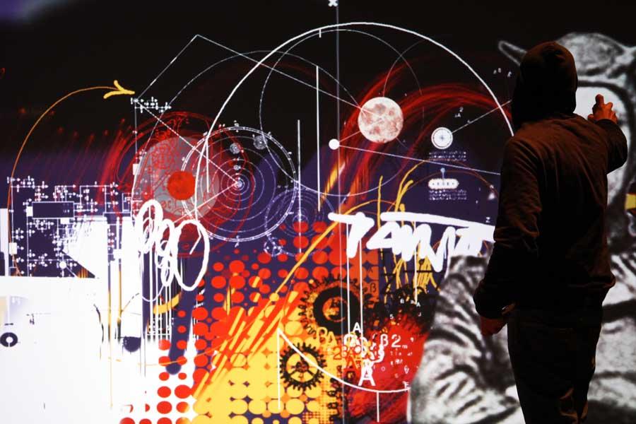 Animation digitale pour événement - fresque murale graffiti numérique