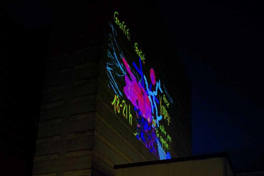 Graffiti numérique - Animation digitale pour événement culturel - Graffiti digital monumental HD - bâtiment