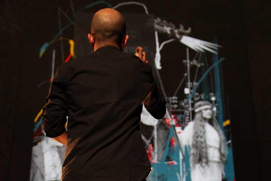 Graffiti numérique - Animation digitale pour événement culturel - Graffiti digital monumental - façade théâtre