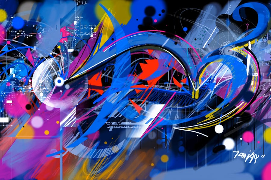 fresque graffiti digital
