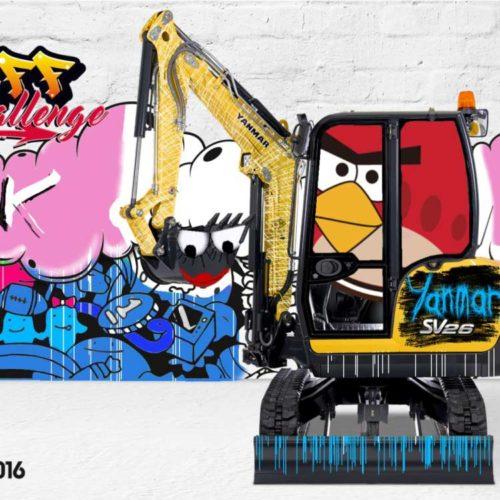 Graffiti numérique - Stand salon professionnel - Animation originale salon - Pelleteuse - BAUMA 2016 - Yanmar