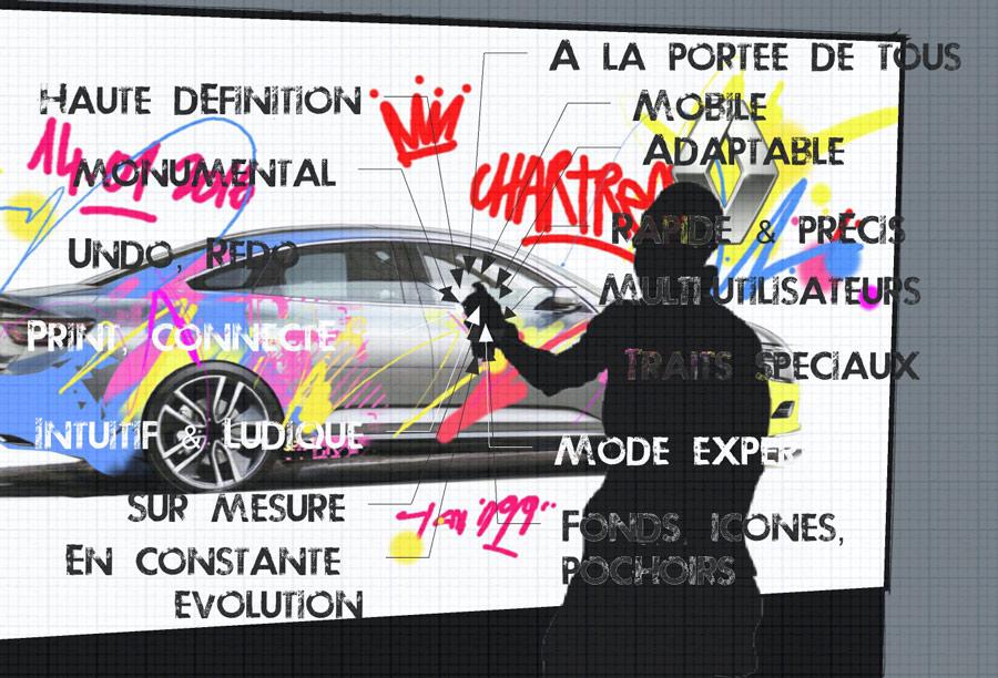 oeuvre graffiti digital - soirée lancement produit - Renault