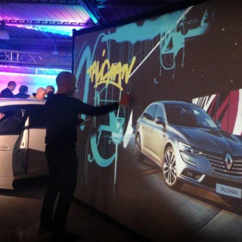 Graffiti digital - soirée de lancement produit - Animation commerciale - Renault