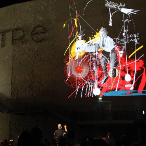 projection graffiti wall